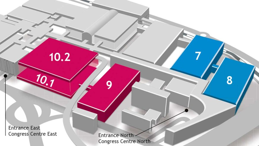 Graphic of the hall plan for aquanale
