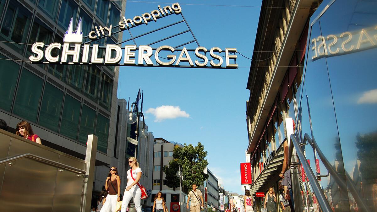 Schildergasse als Haupteinkaufsmeile Köln