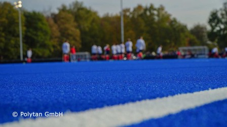 Hockey synthetic turf captivates with its blue pitch colour
