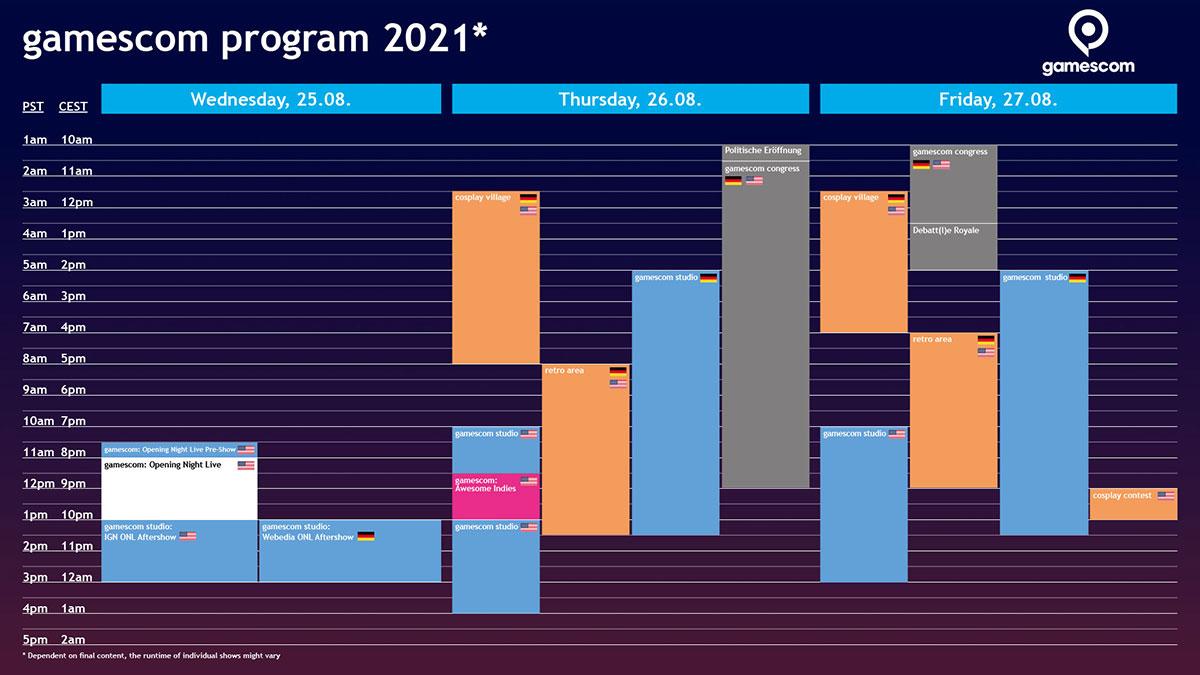 Timetable gamescom