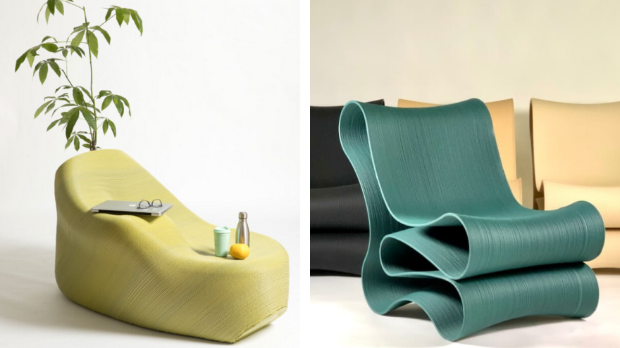 3D printed armchair made of recycled plastic by Sculptur and Print Your City