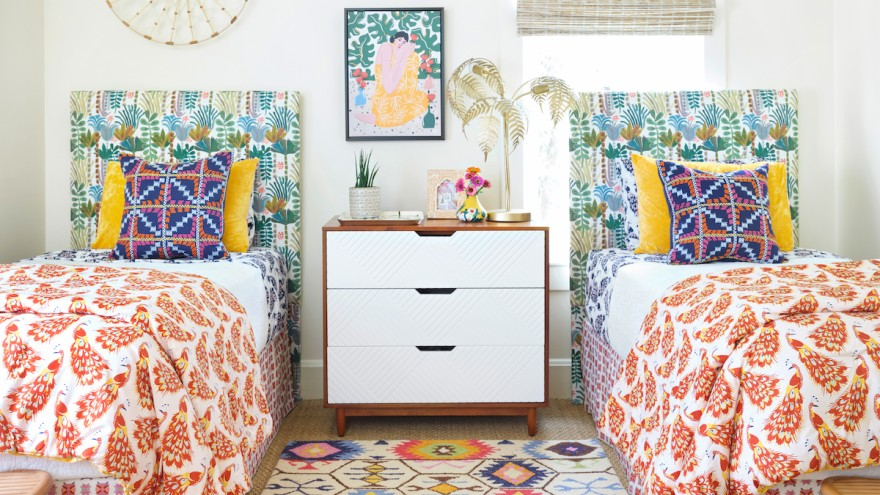 Designer Isabel Ladd mixes patterns and colors in this maximalist bedroom.