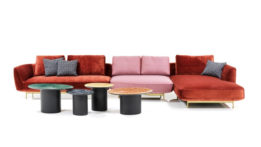 """Brightly colored """"ANDES"""" sofa from Wittmann in 90s style"""