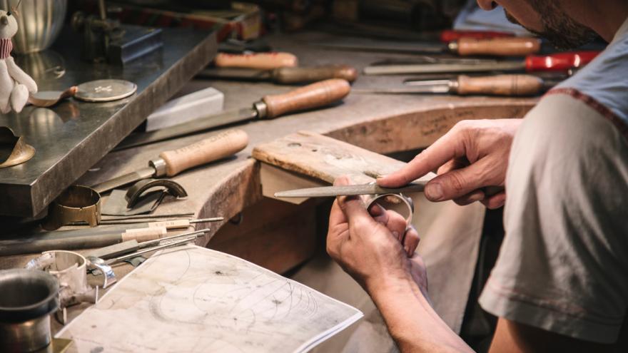 silversmith in the Georg Jensen atelier
