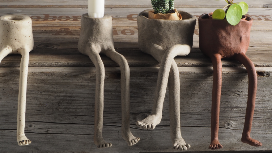Handmade pots and candleholders by Swedenland Ceramic Studio