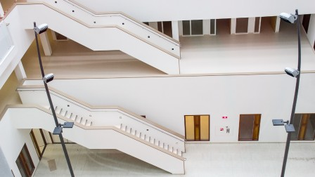 Healing hospital architecture with staircase in soothing colours