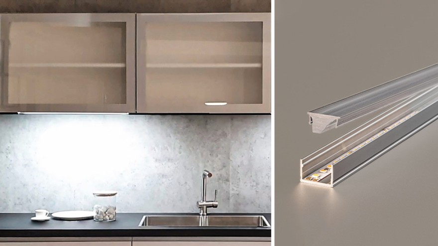 The Linear Lens from Häfele produces double the illuminance without increasing energy consumption.