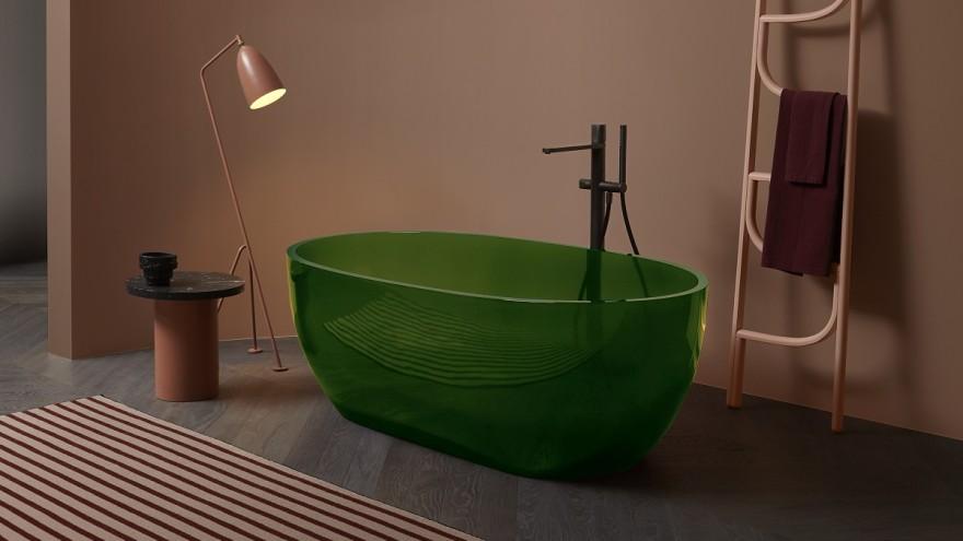 'Reflex' bathtub in new material Cristalmood by Antonio Lupi Design S.p.A
