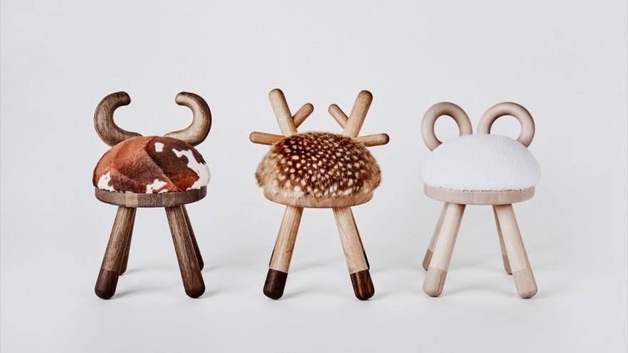 Children's stool Bambi Sheep Cow von EO Denmark Aps
