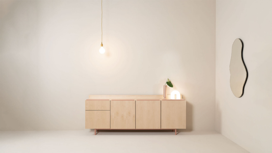 Light wood chest of drawers