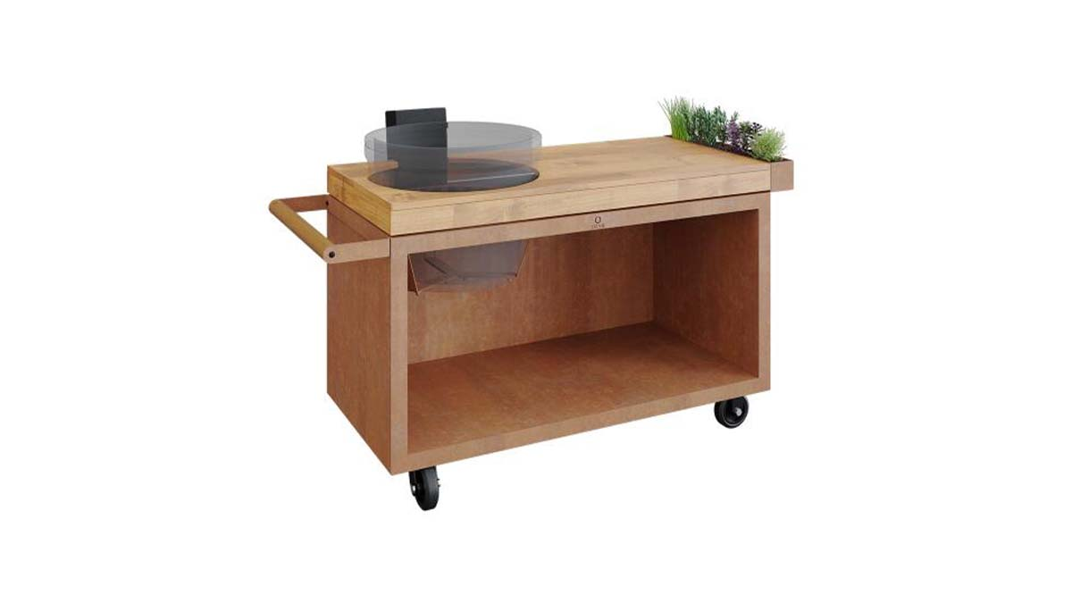 Mobile wooden barbecue station with recess for the barbecue and integrated herb bed