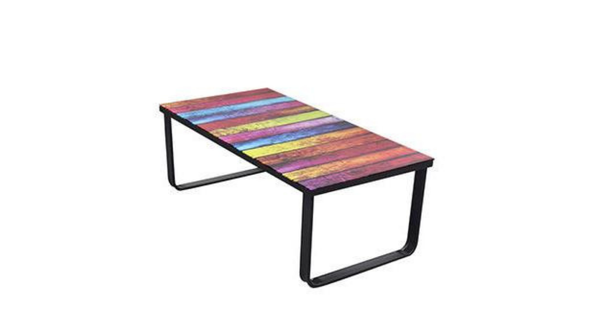 Coffee table with metal frame and colorful table top