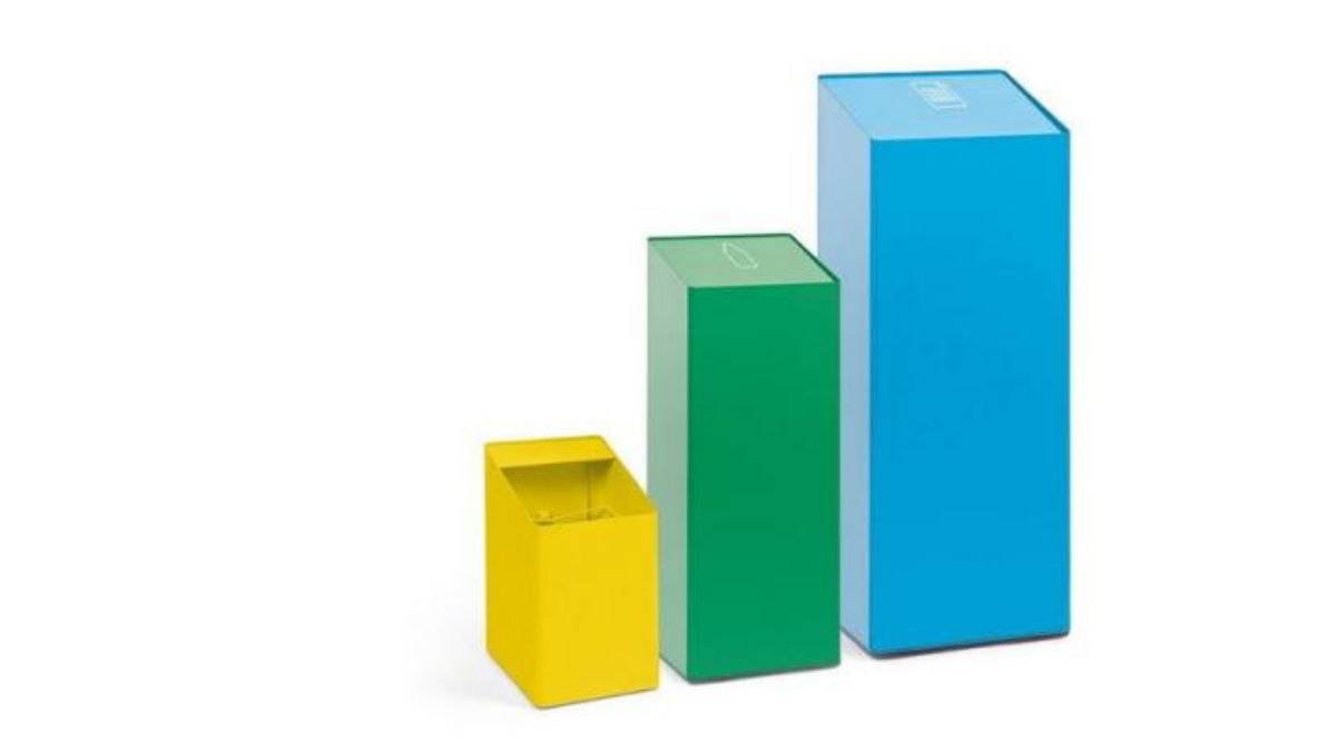 Colorful trash cans in different sizes