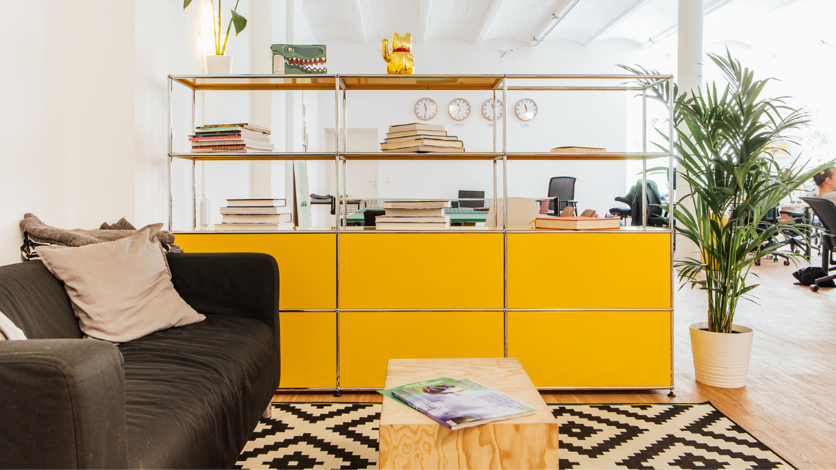 Office cabinet from USM Haller in bright yellow