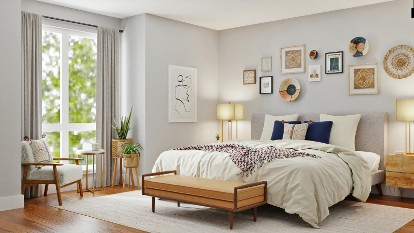 Aufgeräumtes und gemütliches Schlafzimmer