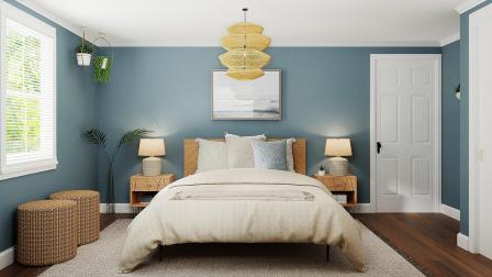 Schlafzimmer mit naturfarbenen Accessoires und pastellblauer Wand