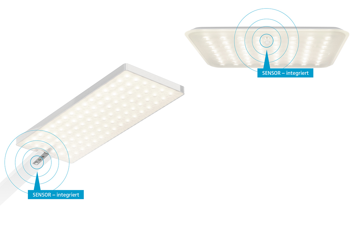 Floor and ceiling lights communicate with each other.