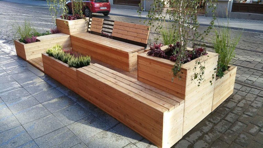 Parklet from wood in Lodz, Poland