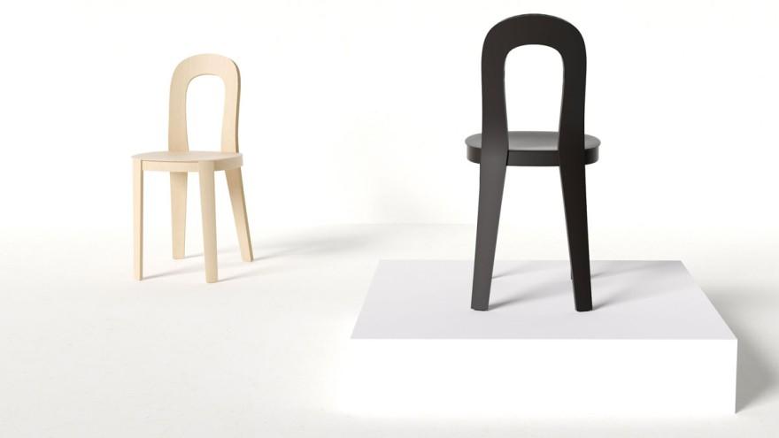 A moulded plywood chair explores balance between lightness and good ergonomics.